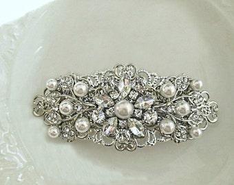 Sale Wedding Hair Clip,Pearl Hair Piece, Crystal head piece, silver brooch comb, rhinestone barrette, Ivory Pearl,Bridal Hair comb, Tea Rose