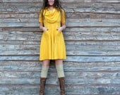 ORGANIC Super Cowl Perfect Pockets Short Dress - ( light hemp and organic cotton knit ) - organic hemp dress