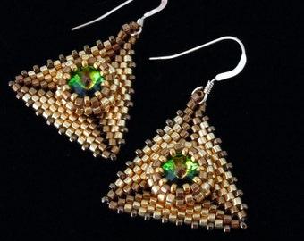 Gold Earrings, Peyote Earrings, Pyramid Earrings, Evening Jewelry, Evening Earrings, Beaded Earrings, Wedding, Drop Earrings
