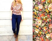 FLORAL BLOUSE // 1990's Spring Blouse with pocket // Size Medium or Large