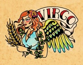 Old School Tattoo Zodiac Art VIRGO Maiden Astrology Print 5 x 7, 8 x 10 or 11 x 14