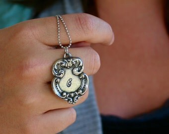 Vintage Style Initial Pendant Necklace.