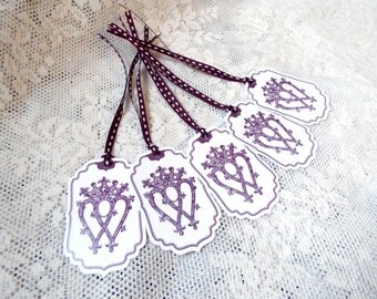 Scotland Luckenbooth Tags, Love Wedding, Purple Tags for party favors, Set of 5, Scottish Heritage