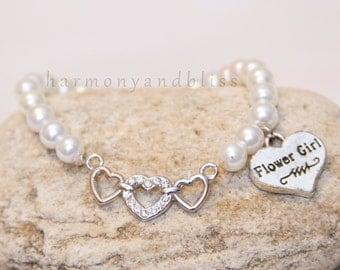Flower Girl bracelet, wedding party jewelry, initial charm jewelry, flowergirl charm bracelet, gift for flower girl, flower girl jewelry