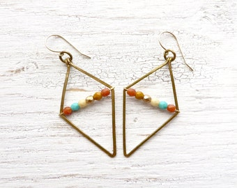 Diamond Shaped Earrings // Geometric Earrings // Boho Jewelry // Wire Wrapped Jewelry // Modern Earrings // Handmade // Gift Ideas For Women
