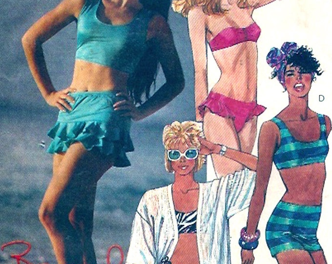 80s Beach Swimsuit vintage sewing pattern two piece beach wear cover up Brooke Shields Bathing suit Collection McCalls 3717 Size 16 UNCUT