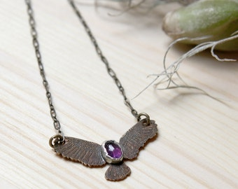 Copper Soaring Eagle Necklace with Amethyst
