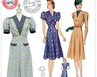 E-Pattern- Circa 1939 Victory Dress Pattern- 1930s 1940s- Wearing History PDF Vintage Sewing Pattern