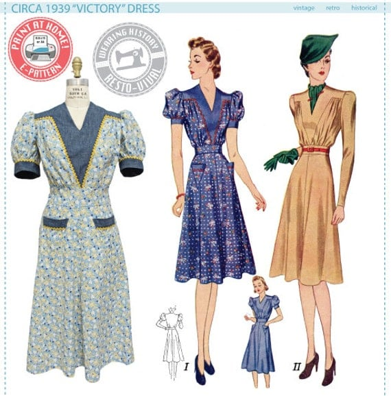 Victory Dress Pattern- 1930s 1940s- Wearing History PDF Vintage Sewing Pattern $10.00 AT vintagedancer.com