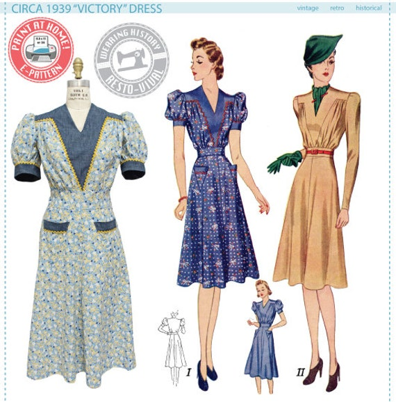 1930s Day Dresses, Afternoon Dresses History 1939 Victory Dress Pattern- 1930s 1940s- Wearing History PDF Vintage Sewing Pattern $12.00 AT vintagedancer.com