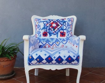 Americana Armchair Hand Sewn Quilt Patchwork Wooden Furniture Vintage Quilt Handcarved wood