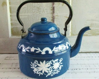 Vintage Blue and White Painted Enamel Teapot