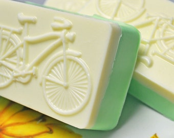 Bicycle Soap - Bike Rider - Banana Kiwi Delight Scent - Excerise Fanatics - Athlete - Handmade Soap - Handcrafted in USA - Goat's Milk Soap