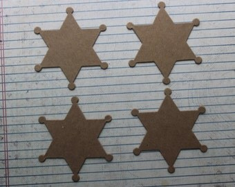 4 Bare Chipboard Sheriff Law Enforcement Badge Diecuts 3 inches