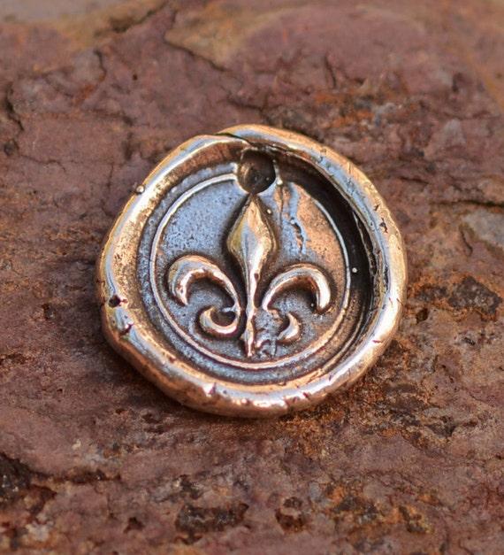 Artisan Handcrafted Fleur de lis Wax Seal Charm in Sterling Silver