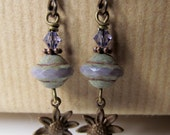 RESERVED for Carol - Flower and Purple Czech Glass and Crystal Niobium Earrings - Lavender Blooms