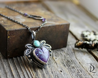 Made to order Petite Mojave Heart // Boho Purple Turquoise Necklace, Sterling Silver, Silversmith welded metalsmith Necklace by BellaLili