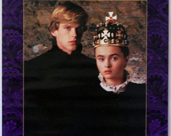 1980s Movie Poster, Lady Jane Grey, Original Vintage Poster, Cary Elwes, Helena Bonham Carter, English Queen Crown, Purple Poster, Romance