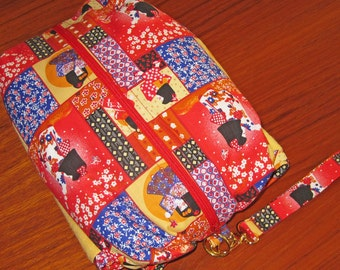 Deluxe Baby Changing Travel Set with Attached Changing Mat and Wrist Strap Japanese Kimono Girl Design
