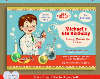 Mad Scientist birthday invitation / INSTANT DOWNLOAD boy mad scientist party / science experiment theme invite with editable text PDF #P-53