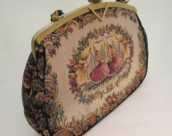Vintage Tapestry Bag, Carpet Bag, La Marquise, flamenco, fabric handbags, petit point purse, tapestry purse, Italian handbags, flower purse