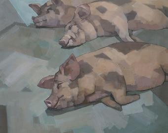 Sleeping Pigs  - Original Painting