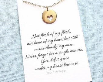 Adoption Gift | Heart Necklace, Step Daughter Gift, Blended Family, Stepdaughter, Gift from Stepmom, Gift from Stepdad, Parent Gift | A06
