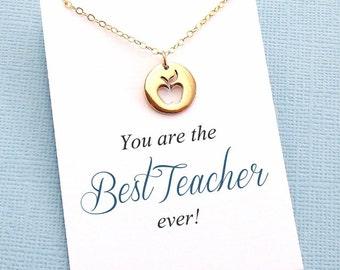 Teacher Appreciation | Apple Necklace, Teacher Gifts, Mentor Gift, Mentor, Mentor Appreciation, Mentor Teacher Gift, Silver or Gold | T04