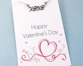 XOXO Necklace | Cursive Necklace | Hugs & Kisses Necklace | Valentine | Gift for Her | for Mom | Valentines Day | Silver or Gold | L06