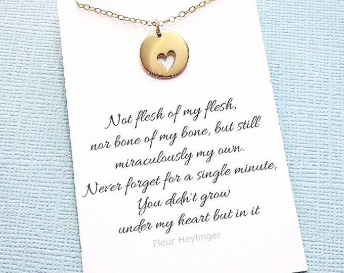 Featured listing image: Adoption Gift | Heart Necklace, Step Daughter Gift, Blended Family, Stepdaughter, Gift from Stepmom, Gift from Stepdad, Parent Gift | A06