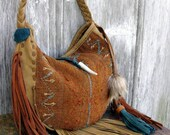 Tribal Tapestry and Nubuck Leather Crescent Hobo Bag by Stacy Leigh