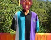 vintage 90s polo golf shirt CHARLOTTE HORNETS nba basketball XL black teal stripe