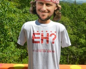 vintage 80s tee shirt CANADA eh canadian huh maple leaf tee shirt Medium 90s funny wtf