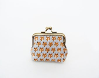 Coin purse, orange and grey fox head design, cotton purse