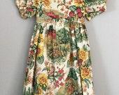 Vintage 80s 90s Farm Print Girls Dress Size 4t