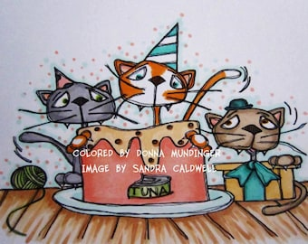 734 Seafood Kitty Cake Party Digi Stamp