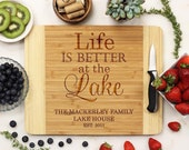 Cutting Board, Personalized Cutting board, Family Lake House Board, Life is Better at the Lake, Custom Engraved Bamboo --21065-CUTB-001
