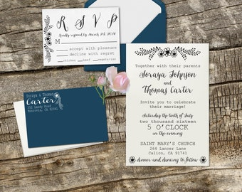 Floral Wedding Invite Set, Clear Block DIY Wedding Invitation Stamps, Custom Wedding Stamps --13015-MULT-000