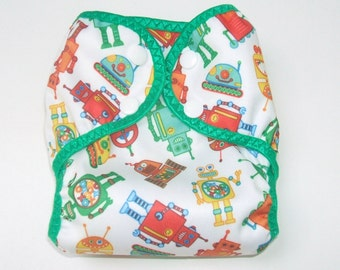 Diaper Cover, Newborn Cloth Diaper Cover,  Nappy Wrap with Snaps, Little Robots
