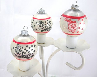 RESERVED for DM til Aug 3 - Tree Ornaments, Shiny Brite Santa Snowman Glass Balls, Vintage c1960s, White with Red and Black Designs