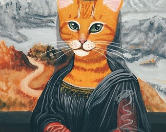 Meowna Lisa - Folk Art Giclee Print 8x10, 11x14