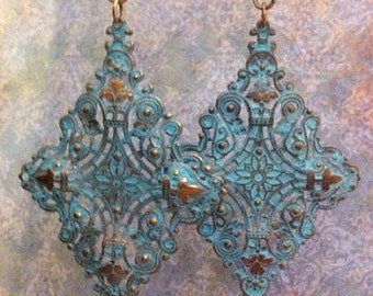Patina Green and Antique Copper Earrings  Handcrafted Jewelry  Handcrafted Earrings Bohemian Jewelry  Bohemian Earrings ~ Gypsy Earrings