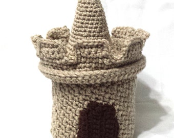 Sand Castle Toilet Paper Cover, Crocheted TP Cover