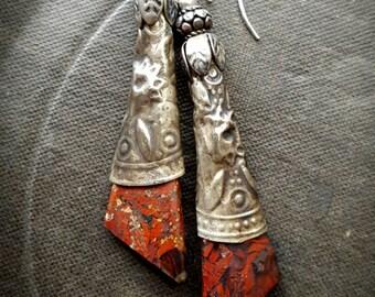 Red Jasper, Brecciated Jasper, Red Stone, Gemstone, Organic, Rustic, Tribal, Banjara, Kuchi, Vintage, Artisan Made, Beaded Earrings