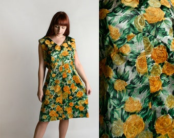 Vintage 1960s Dress - Autumn Floral Fuzzy Velvet Shift Dress - Emerald Green and Mustard Yellow Gold - Large XL
