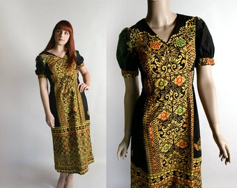 Vintage Boho Maxi Dress - African Print Floral Floor Length Novelty Print Intricate Ornate Ethnic Dress - Small XS