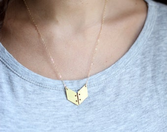 Geometric Chevron Book Necklace - Brass | Stainless Steel | 14k Gold Filled | Sterling Silver