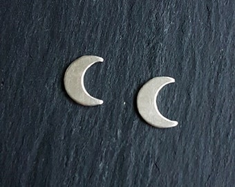 Silver Crescent Moon Earrings, Moon Phase Jewelry, Astronomy Earrings, Sterling Silver Studs, Celestial Jewelry, Hypoallergenic (E267)