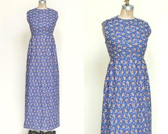 1960s Calico Maxi Dress --- Vintage Blue Dress