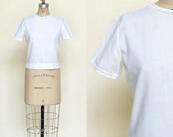 Vintage Cotton Blouse --- 1950s White Top